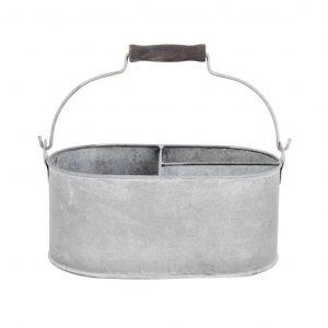 Contenitore Ovale In Metallo Zincato Anticato