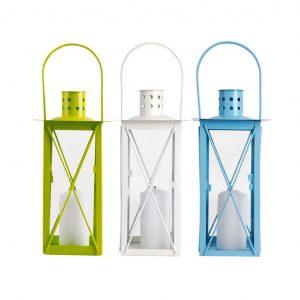 Lanterna Da Appendere Metallo E Vetro Colori Assortiti
