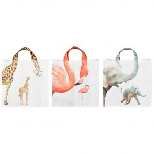 Shopping Bag Fantasia Collo Animali Zoo Su Manici Assortiti