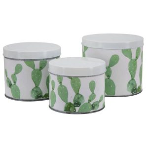 Cofanetti in latta cactus set 3pz