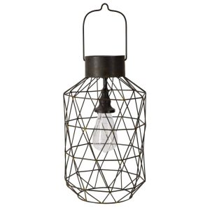 Lampada a forma di lanterna con gabbia in ferro