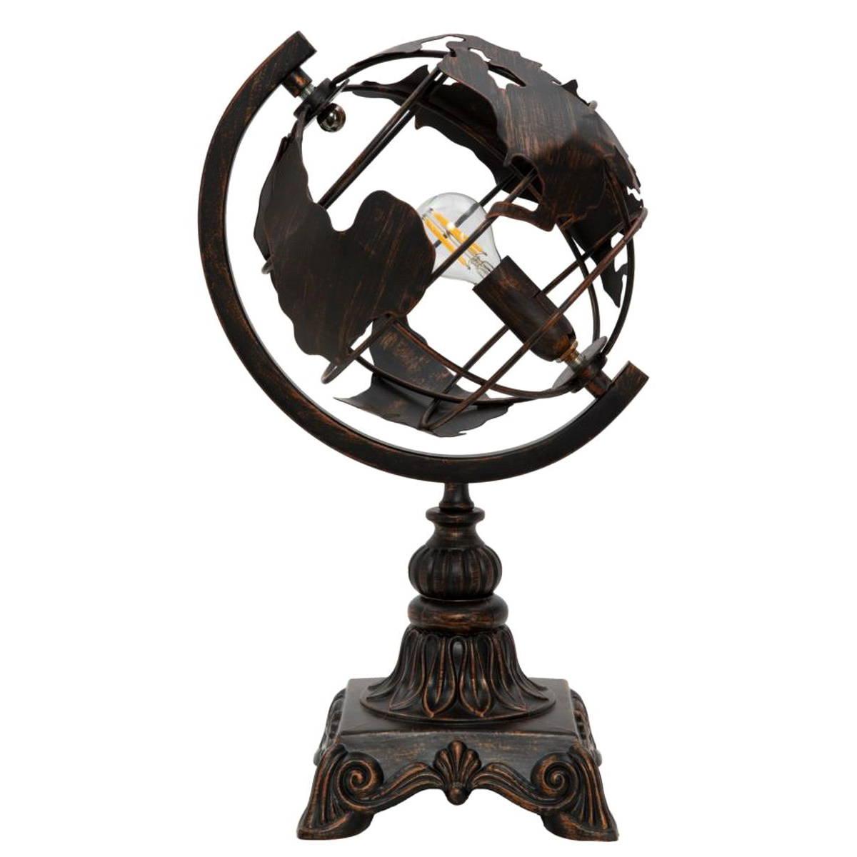 Lampada Da Tavolo A Forma Di Mappamondo Nera Naturdecor