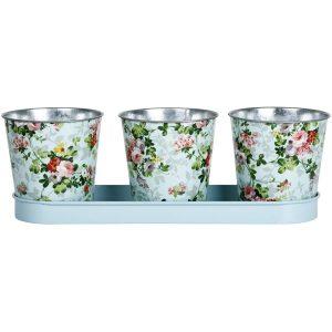 Vassoio con 3 vasi fantasia rose