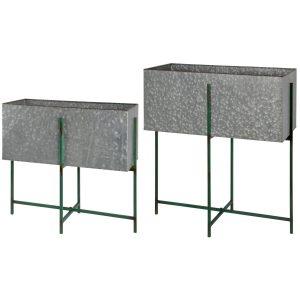 Set Porta Vaso Rettangolare In Metallo Con Base Verde