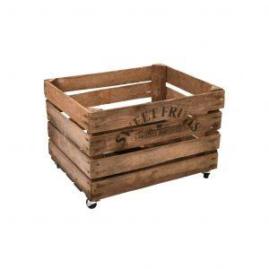Cassetta per la frutta in legno con ruote