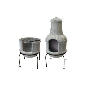 Stufa in ceramica effetto cemento S con supporto