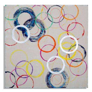 Dipinto Su Tela Floating Circles B
