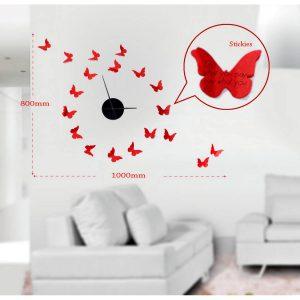 Sticker Da Muro Orologio Butterflies Con Post It