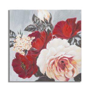 Dipinto Su Tela Red Flower Square