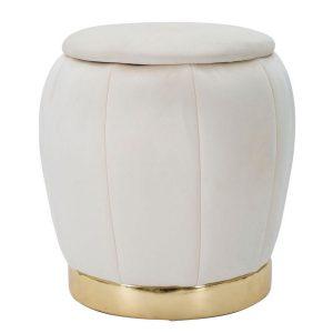 Pouff Con Contenitore Paris Crema-Gold
